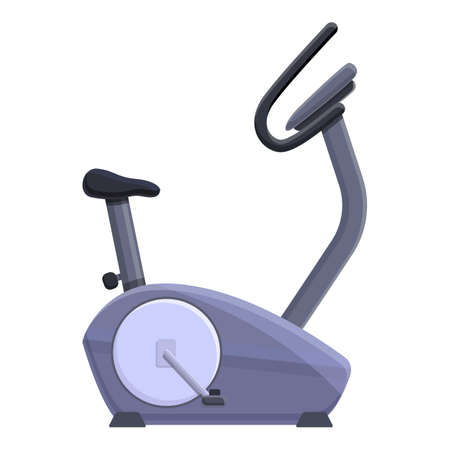 Fitness exercise bike icon. Cartoon of fitness exercise bike vector icon for web design isolated on white background