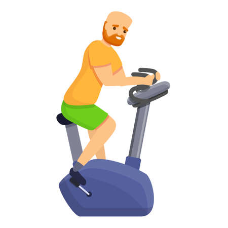 Red hair man exercise bike icon. Cartoon of red hair man exercise bike vector icon for web design isolated on white background Illusztráció