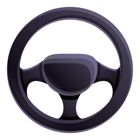 Car steering wheel icon. Cartoon of car steering wheel vector icon for web design isolated on white background