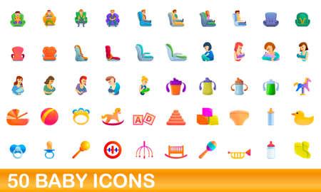 50 baby icons set. Cartoon illustration of 50 baby icons vector set isolated on white background