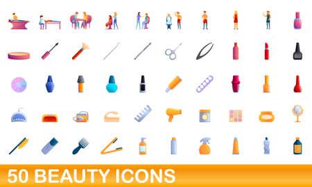 50 beauty icons set. Cartoon illustration of 50 beauty icons vector set isolated on white background