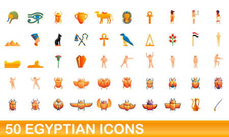 50 egyptian icons set. Cartoon illustration of 50 egyptian icons vector set isolated on white background