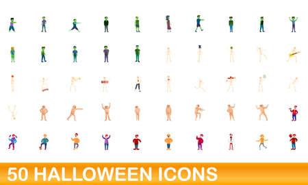 50 halloween icons set. Cartoon illustration of 50 halloween icons vector set isolated on white background