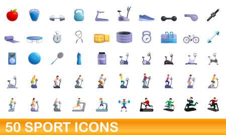 50 sport icons set. Cartoon illustration of 50 sport icons vector set isolated on white background 일러스트