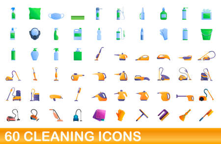 60 cleaning icons set. Cartoon illustration of 60 cleaning icons vector set isolated on white background