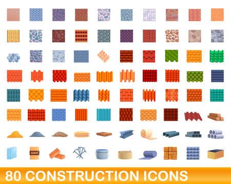 80 construction icons set. Cartoon illustration of 80 construction icons vector set isolated on white background