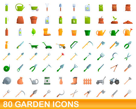 80 garden icons set. Cartoon illustration of 80 garden icons vector set isolated on white background Ilustração