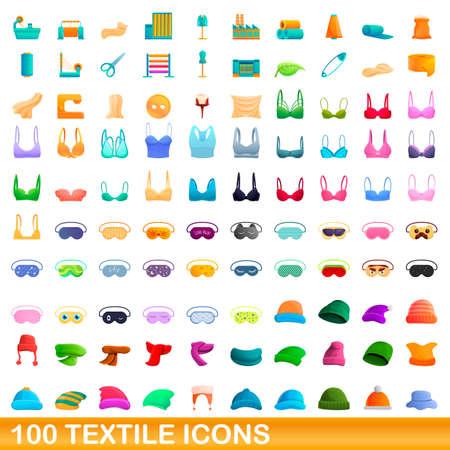 100 textile icons set. Cartoon illustration of 100 textile icons vector set isolated on white background