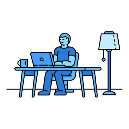 Freelancer icon. Outline freelancer vector icon for web design isolated on white background Vector Illustration
