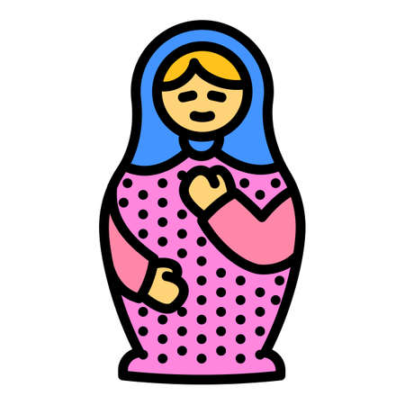 Cute nesting doll icon. Outline cute nesting doll vector icon for web design isolated on white background