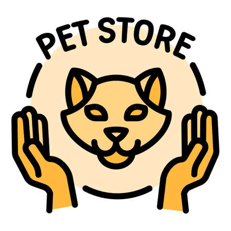 Modern pet store logo. Outline modern pet store vector logo for web design isolated on white background