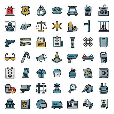 Police equipment icons set. Outline set of police equipment vector icons for web design isolated on white background