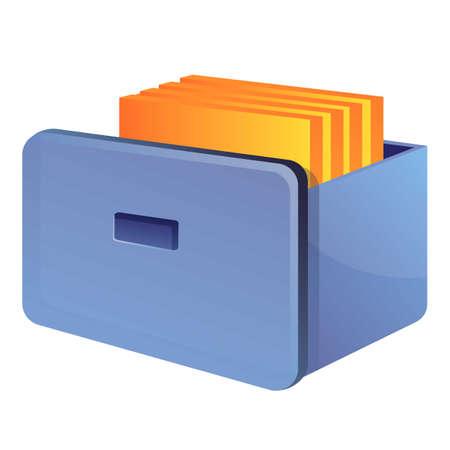 Storage documents drawer icon. Cartoon of storage documents drawer vector icon for web design isolated on white background