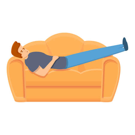 Habit rest on sofa icon. Cartoon of habit rest on sofa vector icon for web design isolated on white background