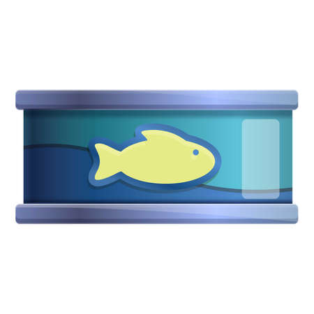 Ocean fish tin can icon. Cartoon of ocean fish tin can vector icon for web design isolated on white background