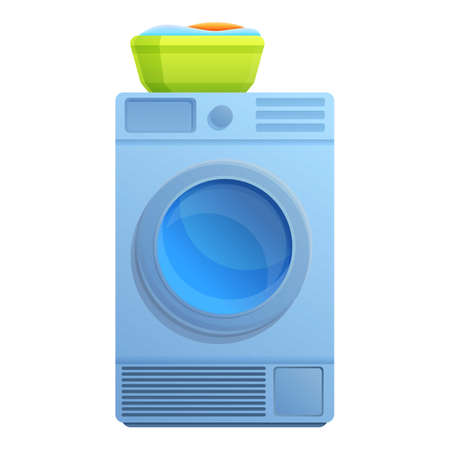 Electric tumble dryer icon. Cartoon of electric tumble dryer vector icon for web design isolated on white background