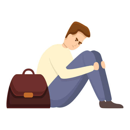 Depressed jobless man icon. Cartoon of depressed jobless man vector icon for web design isolated on white background 向量圖像