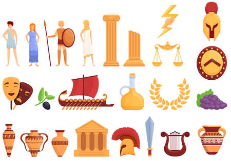 Ancient Greece icons set. Cartoon set of Ancient Greece vector icons for web design