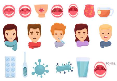 Tonsillitis icons set. Cartoon set of tonsillitis vector icons for web design