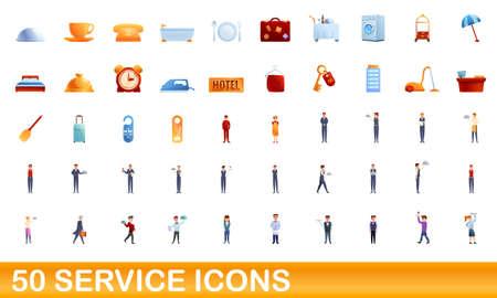 50 service icons set. Cartoon illustration of 50 service icons vector set isolated on white background 向量圖像