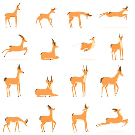 Gazelle icons set. Cartoon set of gazelle vector icons for web design