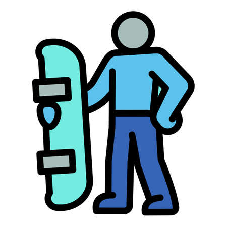 Ski resort snowboard man icon. Outline ski resort snowboard man vector icon for web design isolated on white background