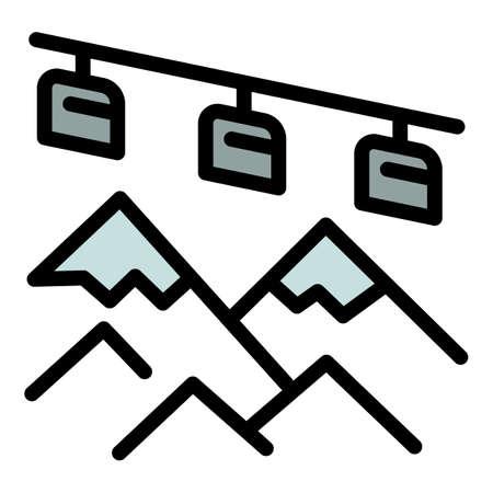 Mountains ski resort icon. Outline mountains ski resort vector icon for web design isolated on white background Vektoros illusztráció