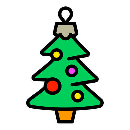 Christmas fir tree toy icon. Outline Christmas fir tree toy vector icon for web design isolated on white background