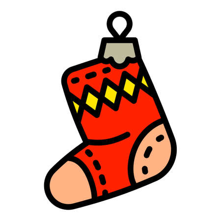 Christmas red sock tree toy icon. Outline Christmas red sock tree toy vector icon for web design isolated on white background