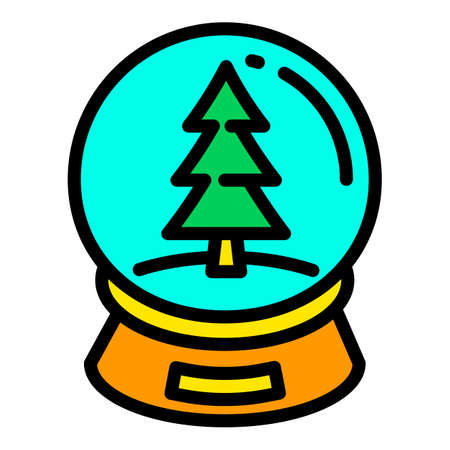 Christmas fir tree ball icon. Outline Christmas fir tree ball vector icon for web design isolated on white background Illustration