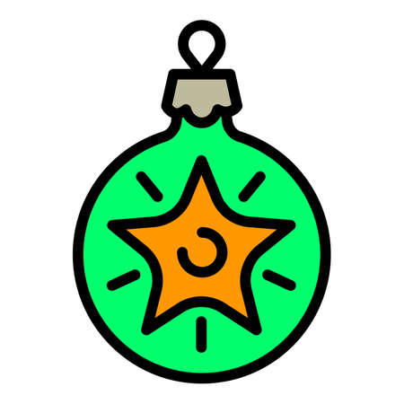 Christmas green ball tree toy icon. Outline Christmas green ball tree toy vector icon for web design isolated on white background Illustration
