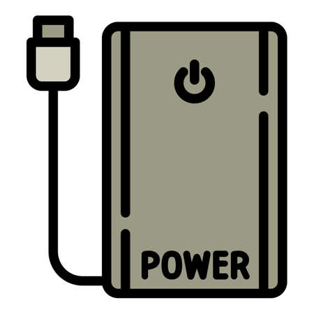 Power bank icon. Outline power bank vector icon for web design isolated on white background