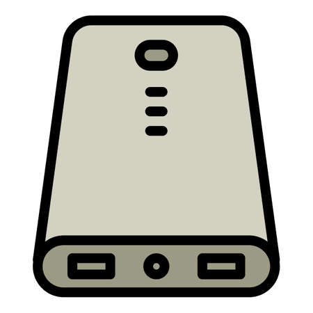 Modern power bank icon. Outline modern power bank vector icon for web design isolated on white background
