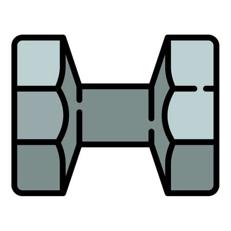 Metal dumbell icon. Outline metal dumbell vector icon for web design isolated on white background