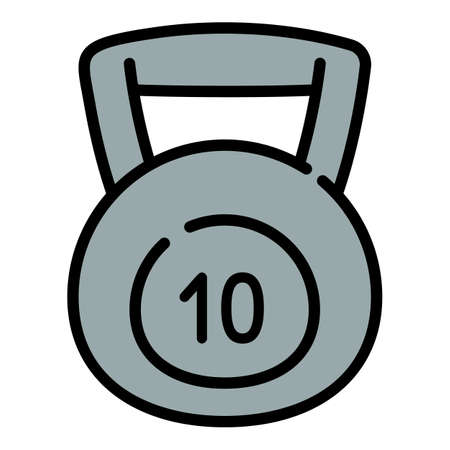10 kg kettlebell icon. Outline 10 kg kettlebell vector icon for web design isolated on white background