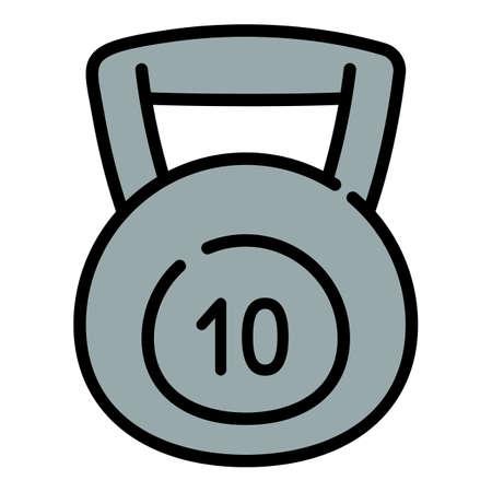 10 kg kettlebell icon. Outline 10 kg kettlebell vector icon for web design isolated on white background