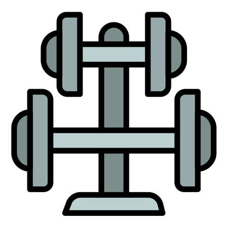 Steel stand dumbell icon. Outline steel stand dumbell vector icon for web design isolated on white background