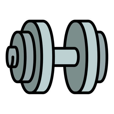 Muscular dumbell icon. Outline muscular dumbell vector icon for web design isolated on white background