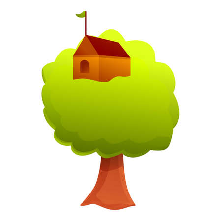 Tree house icon. Cartoon of tree house vector icon for web design isolated on white background Ilustração