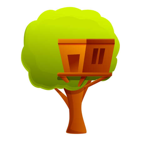 Home tree house icon. Cartoon of home tree house vector icon for web design isolated on white background