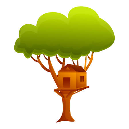 Building tree house icon. Cartoon of building tree house vector icon for web design isolated on white background Illustration