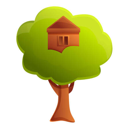 Garden tree house icon. Cartoon of garden tree house vector icon for web design isolated on white background Illustration