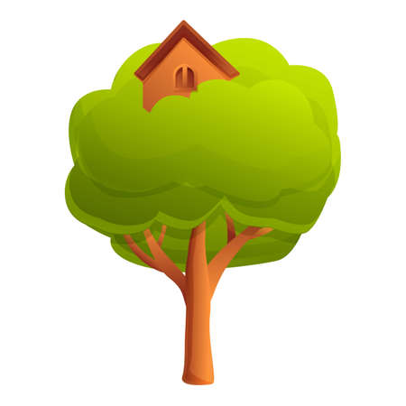 Wood tree house icon. Cartoon of wood tree house vector icon for web design isolated on white background 向量圖像