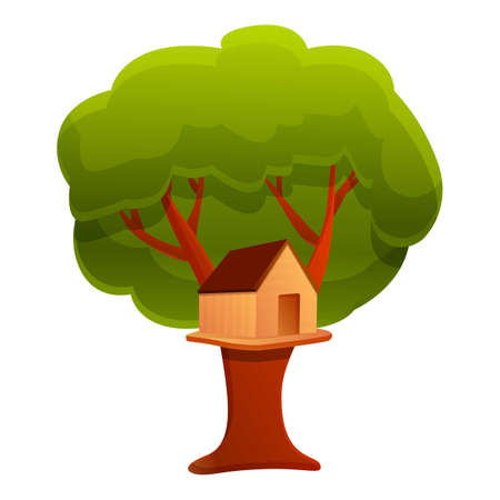 Camp tree house icon. Cartoon of camp tree house vector icon for web design isolated on white background