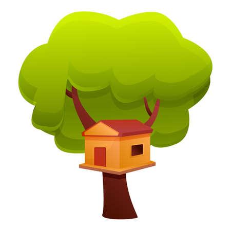 Wood tree house icon. Cartoon of wood tree house vector icon for web design isolated on white background Ilustração