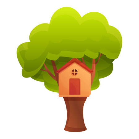 Green tree house icon. Cartoon of green tree house vector icon for web design isolated on white background