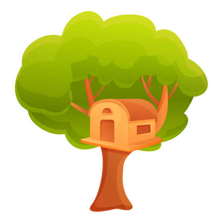 Summer tree house icon. Cartoon of summer tree house vector icon for web design isolated on white background