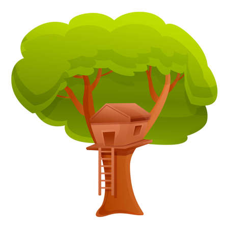 Nature tree house icon. Cartoon of nature tree house vector icon for web design isolated on white background