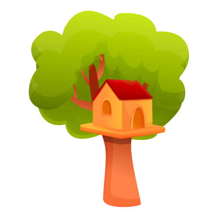 Landscape treehouse icon. Cartoon of landscape treehouse vector icon for web design isolated on white background 向量圖像