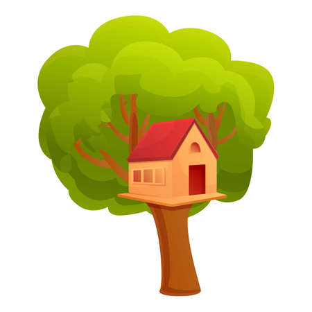 Treehouse icon. Cartoon of treehouse vector icon for web design isolated on white background